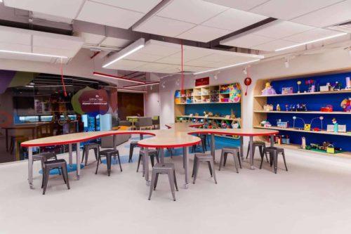 Espaço Criatividade e Inovação com vários bancos ao redor de uma grande bancada em uma sala